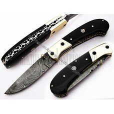 Handmade Damascus Folding Pocket Knife Brass Bolsters handle (SMF42)