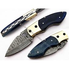 handmade Folding Knife made of Damascus Steel(SMF57)