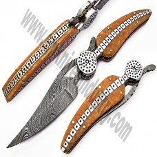 Damascus Handmade stunning Leaf Folding knife (smf03)