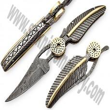 Amazing Hand Made Full Damascus pocket Leaf Knife (smf04)