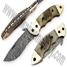 Ram Horn Handle Damascus  Folding Hunting  Knife (SMF06)