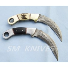 A pair of Damascus Karambit Knives With Stag & Ram Horn(ST20)