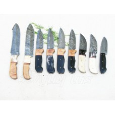 A Collection of 9 Handmade Damascus Sinning/Hunting Knives with Bone,Horn,Wood Handle(ST17)