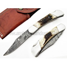 Handmade Folding Pocket Knife with Stag Antler Handle(SMF12)