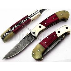 Custom Handmade Damascus Folding Knife (SMF43)