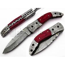 Custom Handmade Damascus Folding Pocket Knife(SMF46)