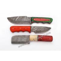 Custom HAnd mAde Damascus Fix Blade Knives Lot Of 3 (Smk1012)