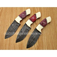 "8"" Color Camel Bone Grip Lot Of 3 Hunting Skinning Knives (Smk1015)"
